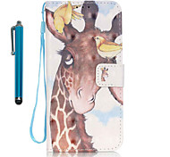 For Samsung Galaxy S7 edge S7  Case Cover with Stylus Birdie Deer 3D Painting PU Phone Case S6 edge S6 S5 S4