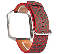 Discolor Genuine Leather Metal Frame 2 in 1 Strap Replacement Watch Band for Fitbit Blaze