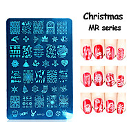 MR Christmas Series Nail Art Stamp Stamping Stainless Steel Mold Nail Polish Printing Stencil Nail Template Tools