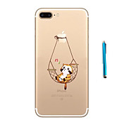 Cradle Of  Cat Pattern Soft TPU Bumper Case for Apple iPhone 7 Plus 7 and Stylus