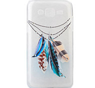 For Samsung Galaxy J5 Feather Pattern Painting Diamond Transparent TPU Material Phone Case