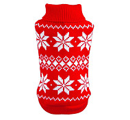 Cat / Dog Sweater Red / Blue Dog Clothes Winter / Spring/Fall Snowflake Christmas / New Year's