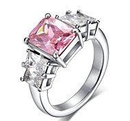 white gold plated pink Amethyst Jewelry CZ Diamond Wedding Rings For Women Engagement Bague Bijoux Accessories