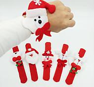 12PCS Christmas Decoration Christmas Ring Pops Christmas Cloth Pat Circle Christmas Party Bracelet(Style Random)