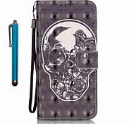 Für Geldbeutel / Kreditkartenfächer / mit Halterung Hülle Handyhülle für das ganze Handy Hülle Totenkopf Hart PU - Leder für Samsung