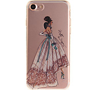 For iPhone 7 6S 6 TPU Material IMD Process Hand-Painted Dress Pattern Phone Case