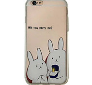 For iPhone 6S 6plus Case Cover Small Rabbit Pattern Embossed Scrub TPU Material Phone Case