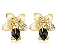 E1073 (2 colors) New Design Beautiful Crystal Clip Earrings 18K Gold Plated Wedding Jewelry Flower Ear Cuff Earrings Women
