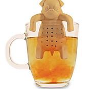 силиконовые кофе чай заварки собаки мопс чайника травяные специи сетчатый фильтр фильтр подарок (случайный цвет)