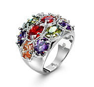 New Fashion Color Rhodium-plated Inlay Zircon Ring Charm Bridal Jewelry Lover Birthday Party Gift