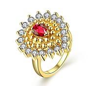 Dazzling Drop Shaped Zircon Ladies Ring Water Drop Ring Romantic Gold Plated & Zirconia Gift Women Dress Accessori