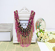 MPL Europe exaggerated folk style diamond multi Tassel Necklace Beads