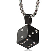 Men's Punk Style Pendant Charm Necklace 316L Stainless Steel Retro Dice Shape Jewelry