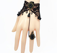 Lolita Jewelry Gothic Lolita Ring Vintage Dark Queen Handmade Black Lolita Accessories Bracelet with Deulxe Ring Lace For Women Lace/Alloy/Artificial