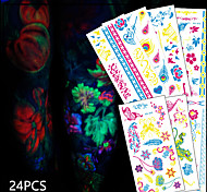 24 Tattoo Stickers Animal Series / Flower Series / Totem Series / Others / Cartoon Series / Romantic SeriesNon Toxic / Pattern /
