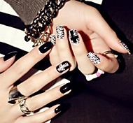 24Pcs  Finished Nail Patch Nails Pills Punk Wind Paragraphs False Nails Black White Black And White