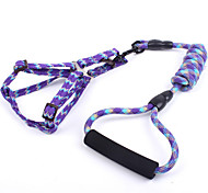 Dog Harness / Leash Adjustable/Retractable / Safety / Soft Patchwork Yellow / Purple / Orange / Rose Nylon