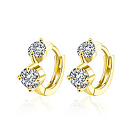 High-Class Simulated Crystal Water Drop Earrings Real18K Gold Plated Heart Stu Earrings Jewelry For Women