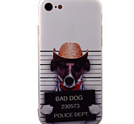 For iPhone 7 7 Plus 6s  6Plus Case Cover Top Hat Dog Pattern TPU Frame Acrylic Backplane Painting Relief