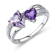 Women's Fashion Sterling Silver set with Amethyst Ring