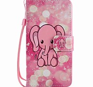 For LG K10 K7 NEXUS 5X Lss775 Xpower Case Cover Pink Elephant Painted Lanyard PU Phone Case