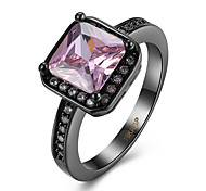 Square created Opal Stone wedding Rings for women Jewelry CZ Diamond rings female Black  Plated AAA Austria Crystals Finger Ring