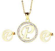kalen® nova moda 18k de aço inoxidável de ouro indiano banhado a letra maiúscula p pendant