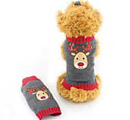 Cat / Dog Sweater Gray Dog Clothes Winter Reindeer Cute / Christmas