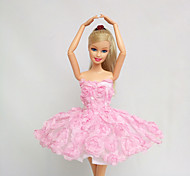 Princess Dresses For Barbie Doll Pink Lace For Girl's Doll Toy