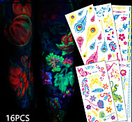 16 Tattoo Stickers Animal Series / Flower Series / Totem Series / Others / Cartoon Series / Romantic SeriesNon Toxic / Pattern /
