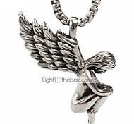 панк-стиль кулон ожерелье шарма нержавеющей стали 316l ретро ангел крылья формы мужчины и женщины ювелирные изделия