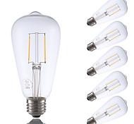 2W E26 LED Filament Bulbs ST21 2 COB 220 lm Warm White Dimmable / Decorative AC 110-130 V 6 pcs