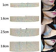 AAA Rhinestone Silver Fashion Style Necklace Choker Necklaces Jewelry Wedding Tattoo Style Fabric Women 1pc Gift