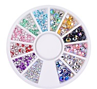 1pcs 2mm 4mm 3D Nail Tips Gems Crystal Glitter Sharp End Rhinestone