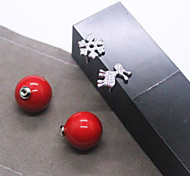 Christmas Snowflake Fawn Big Pearl Earring Girls Joker Red Shell Pearl Has Asymmetric Earrings