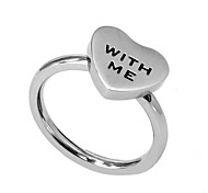 Ring Stainless Steel Heart Fashion Silver Jewelry Wedding Party Halloween Daily Casual Valentine 1pc