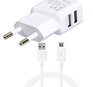 5V 3.1A Dual Ports USB EU Wall Charger Adapter with 1M V8 Micro USB Cable For Samsung LG SONY Huawei Xiaomi and Others