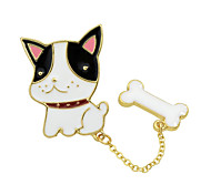New Cute Enamel Dog and Bone Brooches for Women