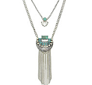 New Punk Imitation Turquoise Long Chain Tassel Pendant Necklaces