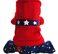 Dog Clothes/Jumpsuit Red Dog Clothes Winter / Spring/Fall Stars Keep Warm
