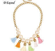 Brand New Arrival Fashion Cute Colorful Tassels Gold Chain Imitation Pearl Pedant Necklace For Lady NL158964