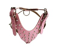 Dog Harness Adjustable/Retractable / Studded / Handmade Solid Red / Black / Blue / Brown / Pink Genuine Leather
