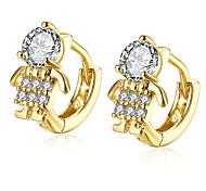 Cute Zircon Figure Shaped 18K Gold Plated Clip Earrings For Women Gold Ear Cuff Clip On Earring Female E142