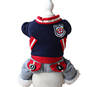 Dog Clothes/Jumpsuit Dog Clothes Sports Solid Dark Blue Ruby