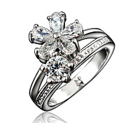 Women's White Gold Plating Engagement Ring with White Zircon