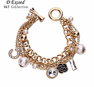Hot Selling Brand New Exquisite Charms Gold Mental Alloy Crystal Pearl Bracelet for Women Christmas Gift BL151654