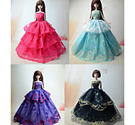 Party/Evening Dresses For Barbie Doll Red / Light Purple / Black / Sky Blue Dresses For Girl's Doll Toy