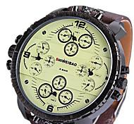 Masculino Relógio Esportivo Relógio Militar Relógio Elegante Relógio de Moda Relógio de Pulso Quartzo Dois Fusos Horários Couro Banda