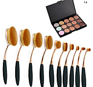 10Pc/Set Pro Fashion Gold Black Oval Toothbrush Shape Face Makeup Brushes Tools &  15 Colors Contour Face Cream Makeup Concealer Palette