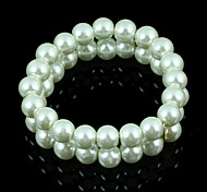 Top Quality Milk White Elegant Fashion Glass Imitation Pearl Stretch Bracelet for Christmas Gift BL140098